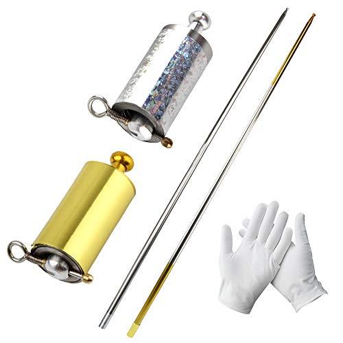 GHJK Bastone in metallo, 2 pezzi, Magic Pocket Staff, per adulti, magia trick magico, llusione di seta per bacchetta magica, 110 cm, 2 guanti