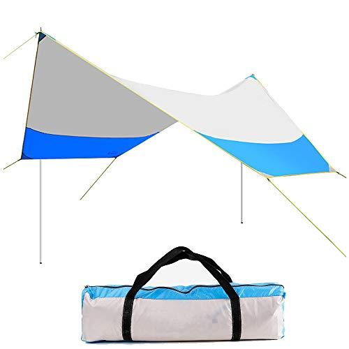 APENCHREN grote strandtent/opvouwbare luifel, waterdichte UV-zeil schaduw, tuin zonwering (465x400x205cm) Blauw