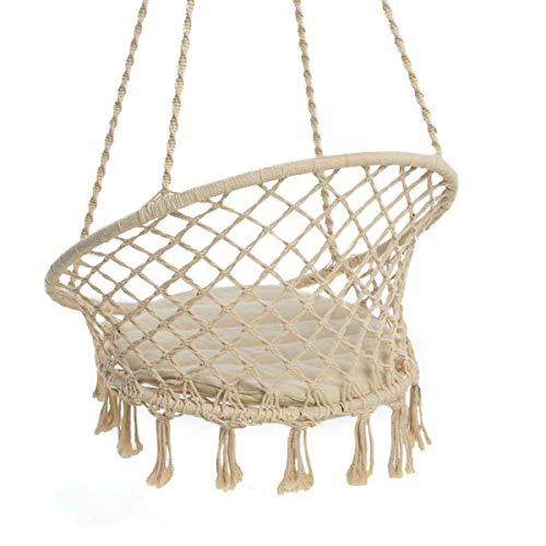 Pureday Hängesessel Nizza - mit rundem Sitzkissen - Outdoorgeeignet - Sitzfläche ca. Ø 55 cm - Belastbarkeit max. 100 kg - 6