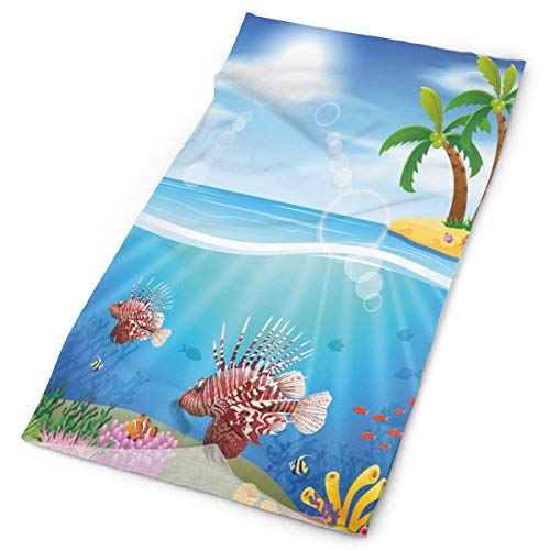 Magic Headwear Outdoor Scarf Headbands Bandana,Graphics Of Lionfish And Coral Reefs In The Sea Marine Beauty Palm Trees On Island,Mask Neck Gaiter Head Wrap Mask Sweatband