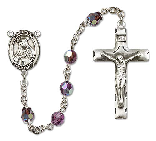 Hail Mary Gifts All Sterling Silver Rosary with Amethyst, 6mm Swarovski, Austrian Tin Cut Aurora Borealis Beads. St. Rose of Lima Center. St. Rose of Lima is The Patron Saint of Vanity/South America.