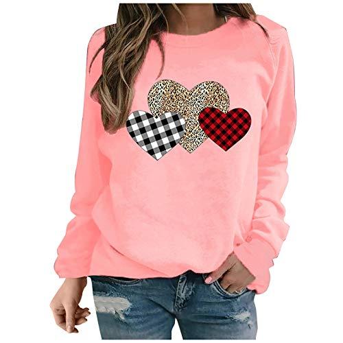Femme Sweatshirt sans Capuche Long Coton Chic Hiver Manche Longue Sweat-Shirt T-Shirt Tee Tops Haut VêTements Sweat Imprimé Amour Chemise Chemisier Rose XXXL