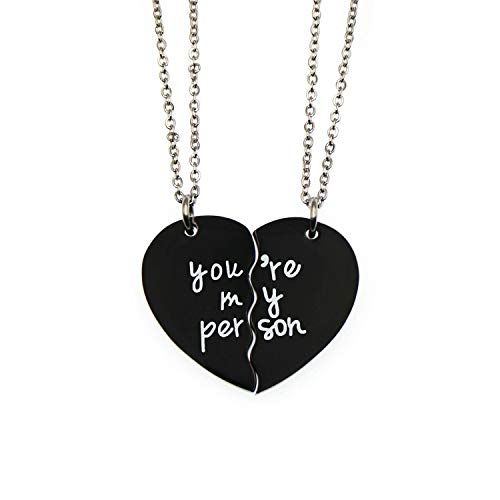You're My Person Broken Two Half Heart Pendant Necklace Lover Couples Best Friends BFF Necklaces Gifts for 2 Black
