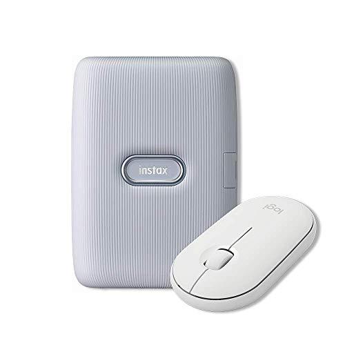Logitech Pebble Mouse Wireless, Bluetooth o 2.4 GHz con Mini Ricevitore USB, Bianco + Fujifilm Instax Mini Link, Stampante Fotografica a Sviluppo Istantaneo per Smartphone, Bianco (Ash White)