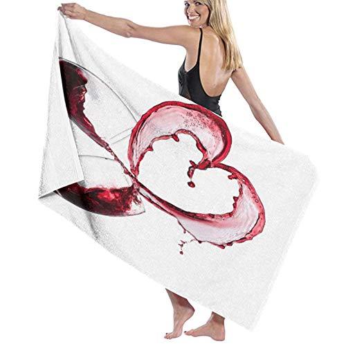 AIMILUX Toalla de Playa,Corazón con derramar Vino Tinto en Vasos Amor romántico Día de San Valentín,Toallas de Baño Toallas de Acampada Piscina Natación Playa Toallas de Mano Ducha Toallas de Mano