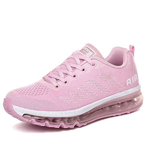 Homme Femme Air Running Baskets Chaussures Outdoor Gym Fitness Sport Sneakers Respirante Pink White 34