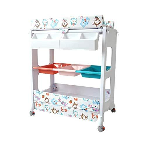 LZQBD Family Care/Windel-Station mit Rollen mit Regale Kinderwelt Tabelle Kleidung wechseln Tabelle -Tisch Nursery Organizer for Jungen-Mädchen-Kleinkind-Baby-Kleinkind