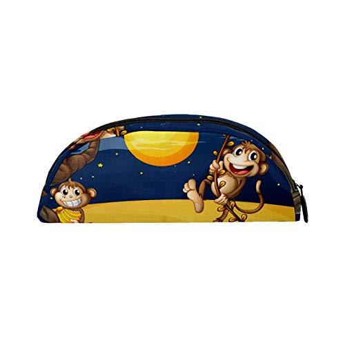 Estuche semicircular para lápices con cremallera, organizador de maquillaje de viaje, regalo para niños, niñas, adolescentes, escuela, dos monos, árbol y luna