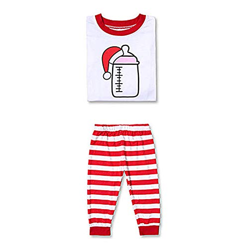 Newooh Christmas Family Matching Pajamas - Parent-Child Printed Tops Stripe Pants Sets - Winter Holiday Pjs PJ Sets Lounge Set
