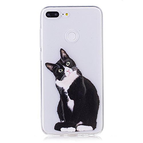 Coque Huawei Honor 9 Lite, Carols Huawei Honor 9 Lite Étui TPU Silicone Souple Coque ,Housse étui Flexible protection en TPU Silicone Shell Housse Coque étui creux Slim Case Cover Cuir Etui Housse de Protection Coque Étui Huawei Honor 9 Lite - Chat noir