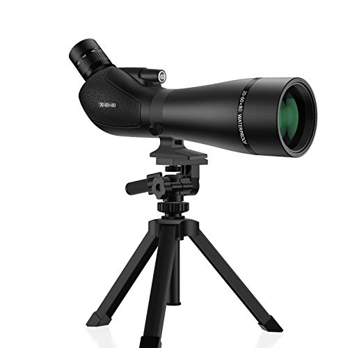 EACONN 20-60x80 Spotting Scope with HD Glass, BAK4 Prism, FMC Optics-IPX7 Waterproof Spotting Scopes for Target Shooting, Hunting, Bird Watching-with Tripod, Digiscoping Phone Adapter