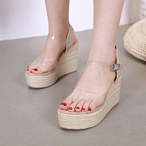 XLBHSH Sandalias de Verano Sandalias Cuñas Plataforma Sandalias Verano Damas Tacones Altos Zapatos Casual Zapatos de Mujeres Sandalias de Mujer,01,44