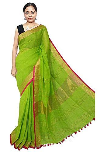 SILK CITY SHG JIVIKA STYLISH Women's Cotton Slub Saree with Contrast Blouse - Parrot Green Pink