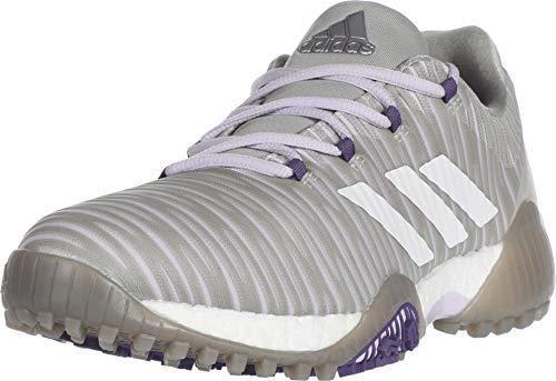 adidas Women's W CODECHAOS Golf Shoe, Metal Grey/Crystal Whte/Glory Purple, 5 Medium US