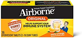 Vitamin C 1000mg (per serving) - Airborne Zesty Orange Effervescent Tablets (36 count in a box), Gluten-Free Immune Suppor...