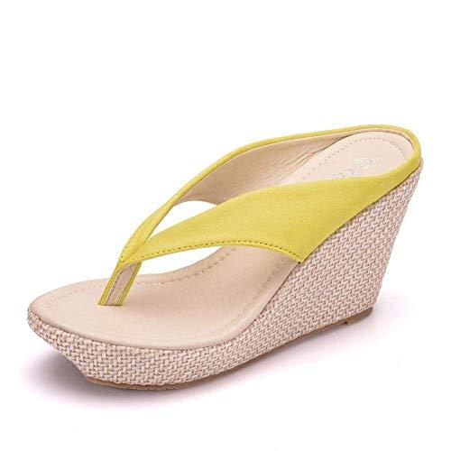 MxZas Sandalias de casa antideslizantes para ducha, pendiente con chanclas, bizcocho con plataforma zapatillas-amarillo_42, sandalias de punta abierta para mujer Jzx-n