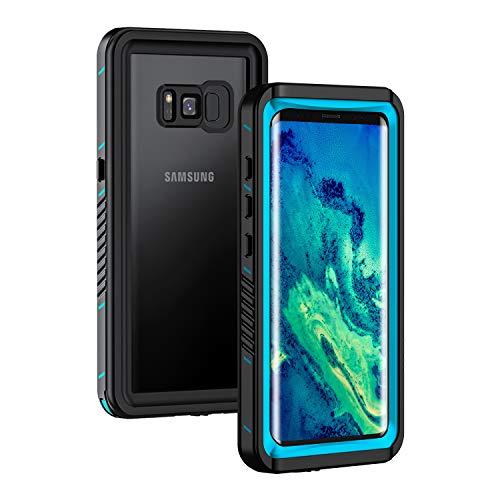 Lanhiem Coque Étanche Galaxy S8, [IP68 Imperméable] [Antichoc] Full Body avec Protection écran intégré Antipoussière Anti-Neige Waterproof Etui pour Galaxy S8, Bleu