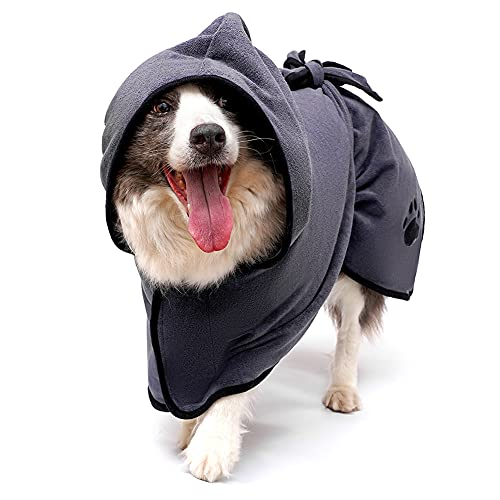 EDAGNY - Albornoz de microfibra absorbente para perro con cuello ajustable y correa para mascotas, secado rápido, para baño y natación, color gris XS