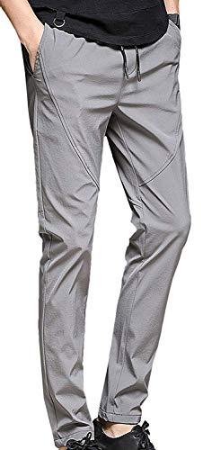 Mieuid Katoenen broek voor heren, straight fit, lange chic business casual stoffen broek vrijetijdsbroek elastisch linnen broek