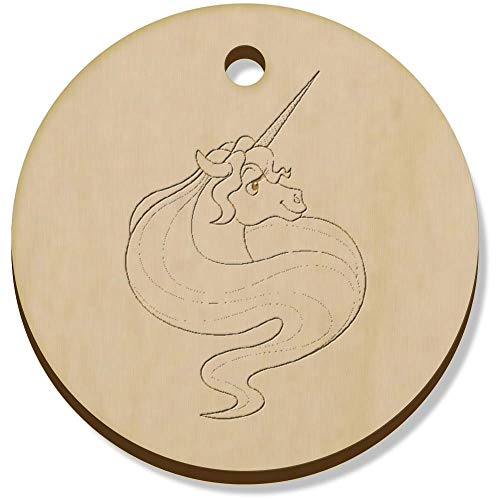 Azeeda 11 x 34mm 'Unicorn Head' Wooden Pendants / Charms (PN00062140)