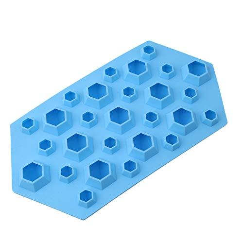 Eleusine Blau 3D Diamant Eiswürfelform Silikonform Eiswürfelbehälter für Whisky Cocktail Pudding Milch Saft Bier