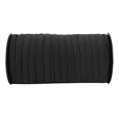 Tomantery Práctica Fibra de Polipropileno elástica 8mm 100 Yardas Banda elástica DIY para Ropa Hecha a Mano(Black)