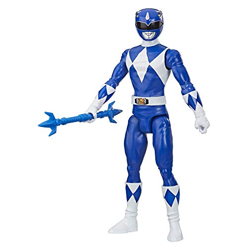 Power Rangers Mighty Morphin Blue Ranger 12-Inch Action Figure Toy Inspired by Classic TV Show, with Power Lance Accessory