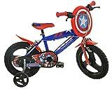 Dino Bikes 416U-CA - Bicicleta Infantil de Capitán América de 16 Pulgadas, Color Rojo, 89 cm x 17,2 cm x 55,5 cm