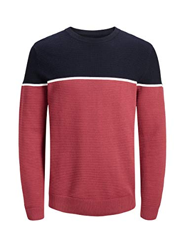 Jack & Jones Jorbrit Knit Crew Neck suéter, Azul Marino, Large para Hombre