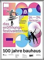 ポスター バウハウス 100 Jahre Bauhaus Festival 2019 white 額装品 アルミ製ハイグレードフレーム(シルバー)