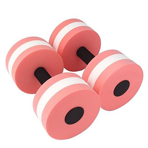 Read About 2pcs Water Aerobics Dumbbell Medium Aquatic Barbell Aqua Fitness Pool Exercise (Pink)