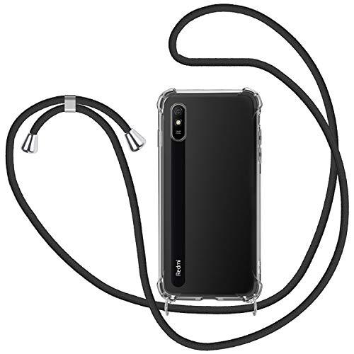 SAMCASE Funda con Cuerda para Xiaomi Redmi 9A/Xiaomi Redmi 9AT, Carcasa Transparente TPU Suave Silicona Case con Correa Colgante Ajustable Collar Correa de Cuello Cadena Cordón - Negro