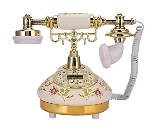 Teléfono fijo antiguo, base redonda de cerámica European Rose FSK / DTMF Teléfono alámbrico, Teléfono con cable de escritorio de identificación de llamadas para adornos para la decoración del hogar