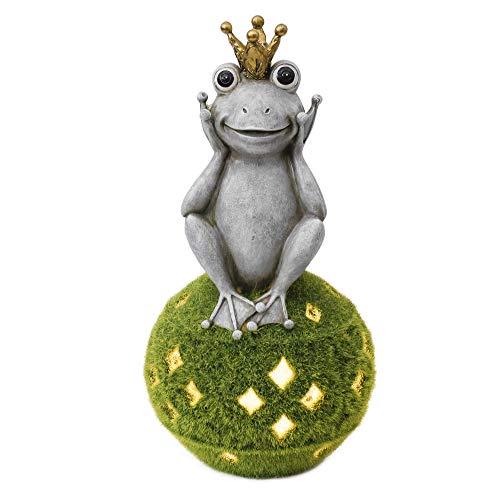 TERESA'S COLLECTIONS Froschkönig auf Kugel Gartenfiguren für Außen Garten Solarleuchte beflockt mit Moos Kunstharz 30.5cm Frosch Gartendeko Figuren Wetterfest Dekofiguren Solarleuchte für Teich