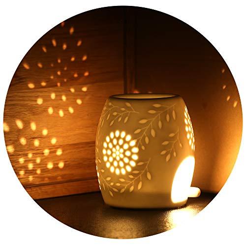 ecooe Aromalampe Teelichthalter Duftlampe aus Keramik weiß mit der Candle Löffel Aroma Diffuser