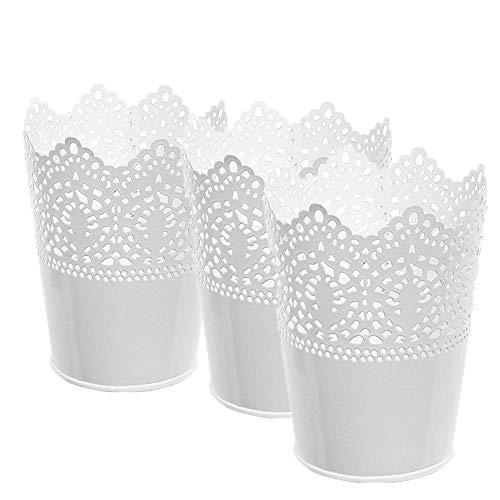 5'high Artificial Planters/Plant Pot or Make-up Pencil Holder,Pencil Cup,Ruler Organizer,Desk Sorter or Candle Holder Metal-Pierced Flower Wedding Vase Home Decor 3 Pack (White)