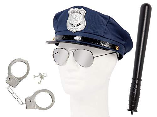 Déguisement policier Ensemble de 4 pièces: casquette Police Américaine + lunettes + menottes + Matraque (KV-52) déguisement soirée déguisée homme femme ambiance spéctacle costumerie theatre