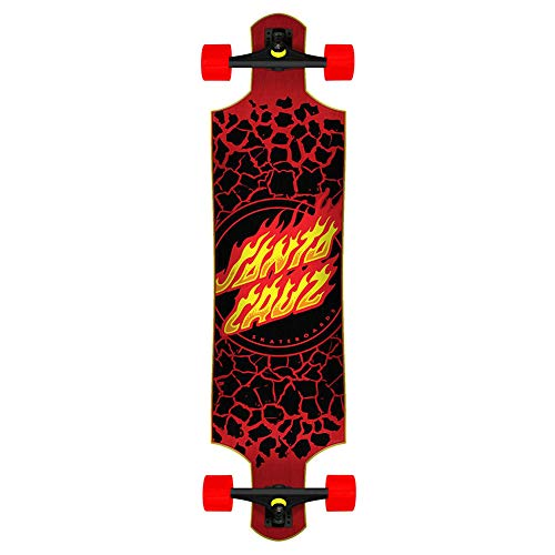 "Santa Cruz Longboard Complete Flame Dot Drop Down Red 10.0"" x 40"""