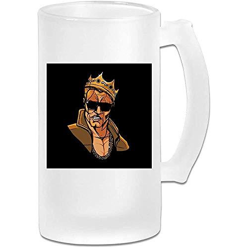 Taza de jarra de cerveza de vidrio esmerilado de 16 onzas impresa - Salve al notorio rey - Taza gráfica