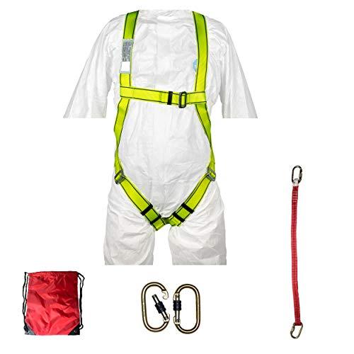 KIT IMBRACATURA ANTICADUTA sospensione in aria, sollevamento sospeso, imbracatura tessile anticaduta, corda di sicurezza, 2 moschettoni, sacca viaggio, kit CE imbragatura anticaduta 1 punto dorsale