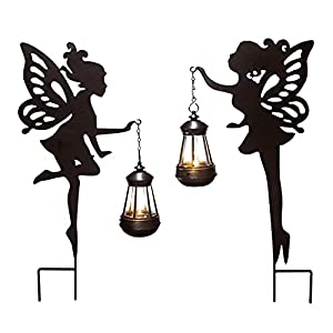 jhbox fairy garden statue with solar lights 2 pack metal fairy door decoration with ground stakes fairy garden accessories outdoor for lawn patio yard halloween