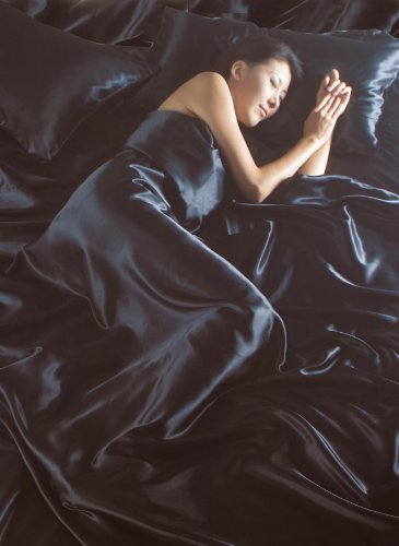 Negro satinado Plain doble cama 6Pce cama completo