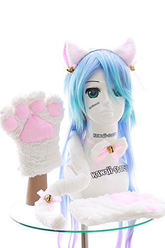 Kawaii-Story C-20 White Cat Paw Gloves Ears Tail Collar Hairband Set Lolita Maid Cosplay