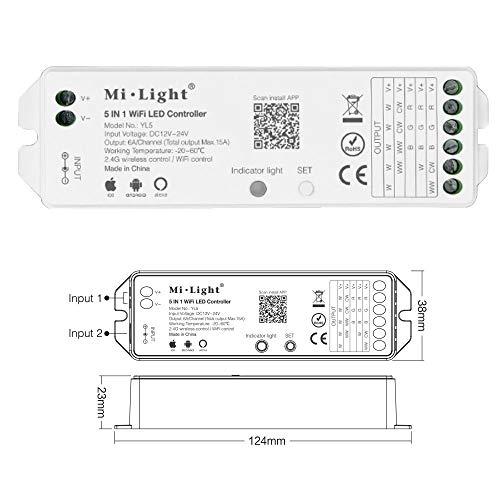 5in1 WLAN Controller Dimmer für einfarbige, CCT, RGB, RGBW, RGBWW, RGB+CCT LED Stripes kompatibel mit Alexa® und vielen Mi-Light Fernbedienungen YL5