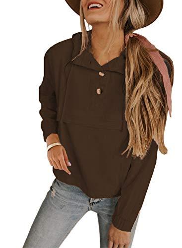 Sudadera de color sólido para mujer, con cuello de botón, con cordón, manga larga, elástica, color marrón