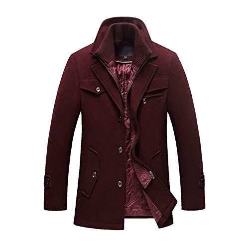 W-L Abrigo de invierno para hombre, abrigo, entallado, para hombre, informal, cálido, abrigo, para hombre, talla M ~ 4XL (color: rojo vino, talla: XXXL)