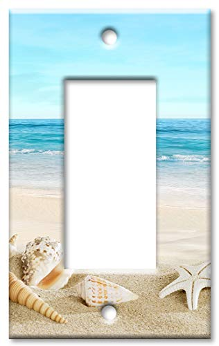 Art Plates 1 Gang Decora - GFCI Wall Plate - Seashells on the Beach