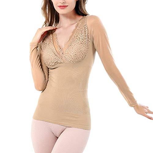 HaiDean Damen Unterhemd Unifarben Slim Fit Unterwäsche Mode Langarm Spleiß Spitze Jungen Chic V-Ausschnitt Thermo Unterwäsche Elastisch Tops (Color : Nude, Size : One Size)