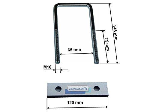 2 U-Bügel - groß - Halterungen, Befestigungssatz für Deichselbox, Halter für Staubox, Werkzeugkasten, Bügelschraube, Montagesatz MON4002 - 2