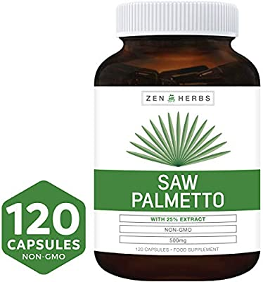 Best Saw Palmetto 120 Capsules (NON-GMO) - Support Prostate Health to Reduce Frequent Urination - DHT Blocker Prevent Hair Loss - 500mg High Strength 25% Extract Natural Supplement for Men - No Pills from Zen Herbs